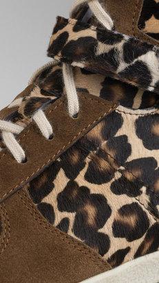 Burberry Animal Print Calfskin High-Top Trainers