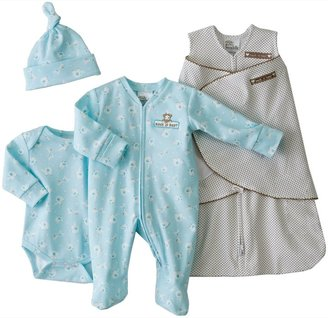 Halo 4-Piece Cotton Layette Set 100% Cotton - Blue-NB