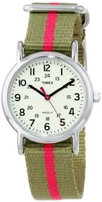 "Timex Women's T2N917 ""Weekender"" Watch with Olive Green and Red Nylon Strap $44.95 thestylecure.com"