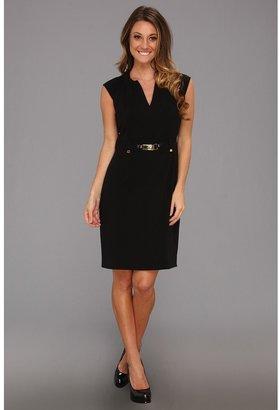 Calvin Klein Shift Dress w/ Gold Hardware (Black) - Apparel