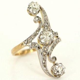 very good (VG) Vintage Art Deco 14K Yellow & White Gold & Diamond Cocktail Ring - Size 6.5