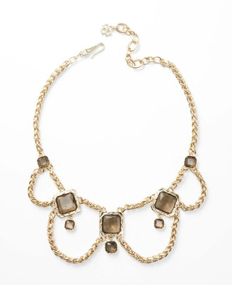 Ann Taylor Smoky Stone Box Chain Statement Necklace