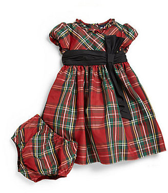 Ralph Lauren Infant's Polyester Tartan Plaid Dress & Bloomers Set