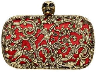 Alexander McQueen Red Ornate Skull Clutch