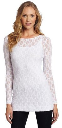 Only Hearts Club Women's Stretch Lace Long Sleeve Tunic with Liner