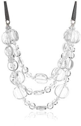 "Amanda Pearl ""Mixed Lucite Gems"" 3-Strand Necklace on Silvery Ribbon"