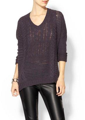 Velvet by Graham & Spencer Cashmere Blend Nadya Patchwork Cable Knit Sweater