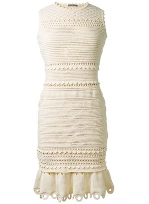 Alexander McQueen open knit bodycon dress