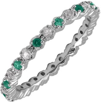 Simply Stacks Sterling Created Emerald & Diamond Stack Ring