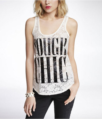 Express Brushed Lace Graphic Tank - Tough Chic