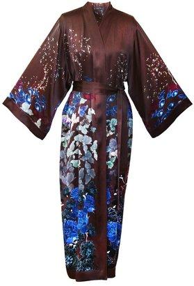 MENG Womens Chocolate Silk Satin Unlined Robe