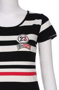 Romwe Striped Print Drawstring Short-sleeved Dress