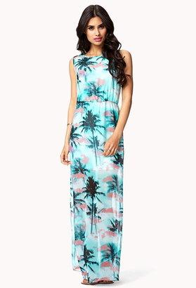 Forever 21 tropical print maxi dress