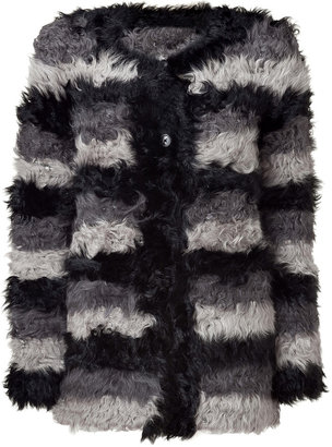DKNY Coal Shades Striped Lamb Shearling Jacket