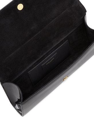 Saint Laurent Cassandre Patent Leather Logo Clutch, Black