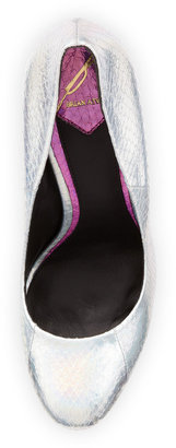 Brian Atwood B by Fontanne 3-Tone Iridescent Snakeskin Pump, Silver/Multi