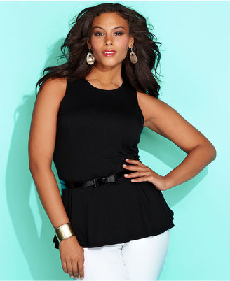 INC International Concepts Plus Size Top, Sleeveless Bow-Belt Peplum