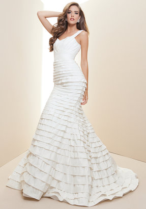 Rami Kashou Layered Silk Taffeta Bridal Gown