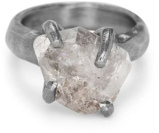 Bjorg Jewellery Black Herkimer Ring Size 60