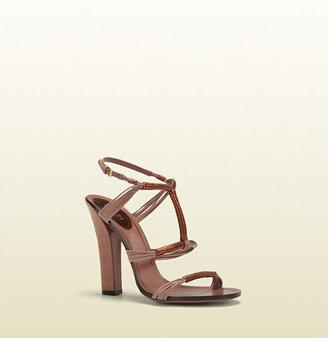 Gucci Anita Metallic Leather And Suede High-Heel Sandal