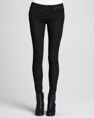 Vince D-ID Denim Faux-Leather Quilted Skinny Pants