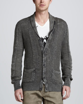 John Varvatos Cable-Knit Cotton-Linen Cardigan, Gray