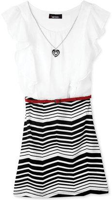 Amy Byer BCX Girls' Striped Ruffle Dress