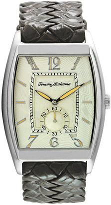 Tommy Bahama Watch, Men's Swiss Dark Brown Basketweave Leather Strap 36mm TB1177