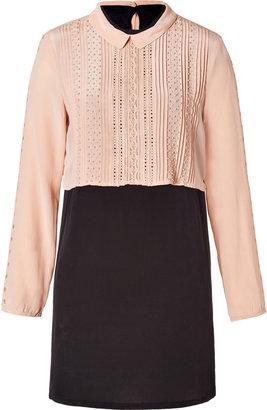 Vanessa Bruno Silk Two-Tone Dress in Rose/Noir