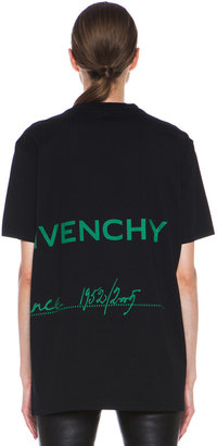 Givenchy Green Logo Cotton Tee in Black