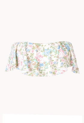 Forever 21 Garden Rose Ruffle Bikini Top