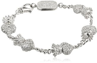 King Baby Crowned Heart Pave Cubic Zirconia with Chain Bracelet $425 thestylecure.com