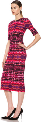 Matthew Williamson Nomadic Stripe Technical Jersey Dress in Fuchsia