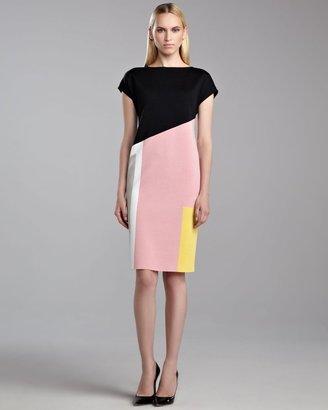 St. John Milano Colorblock Dress, Caviar/Rose/Yellow
