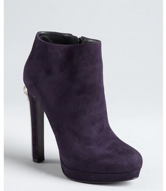 Alexander McQueen eggplant suede skeleton-embossed plate ankle boots