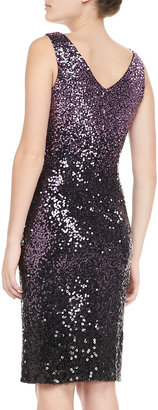 David Meister Sequined Sleeveless Sheath Cocktail Dress