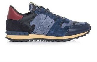 Valentino Denim, leather and suede camo trainers