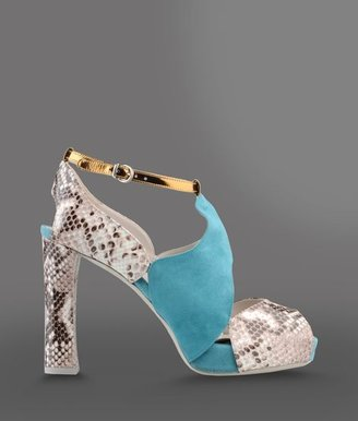 Emporio Armani Open Toe Suede Sandal With Snakeskin Print