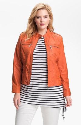 Bernardo Leather Scuba Jacket (Plus) (Nordstrom Exclusive)
