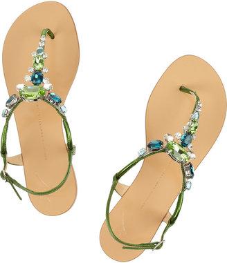 Giuseppe Zanotti Crystal-embellished metallic leather sandals