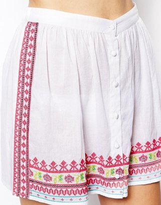 Asos Neon Aztec Embroidered Button Through Beach Skirt