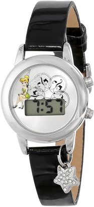 Disney Women's TK1029 Tinkerbell Silver Dial Black Strap with Charm Watch
