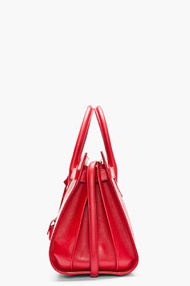 Saint Laurent Red buffed leather Sac Du Jour Small Carryall Tote