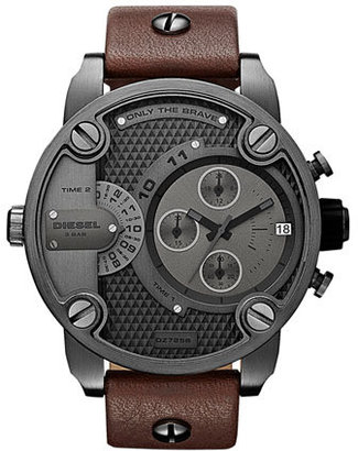 Diesel 'Little Daddy' Chronograph Leather Strap Watch, 51mm