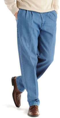 Lee Men's Stain Resist Relaxed-Fit Pleated Denim Pants