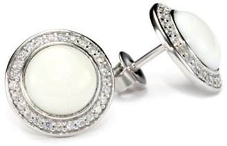 """Esprit Ballroom White"""" White Cubic Zirconia and White Mother-Of-Pearl Stud Earrings"""