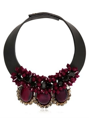 Marni Embellished Leather Necklace With Horn