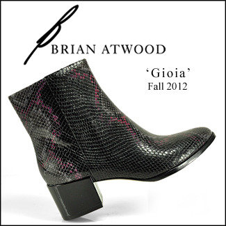 Brian Atwood B by Gioia - Black and Pink Snakeskin Bootie