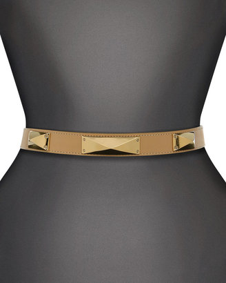 St. John Narrow Leather Waist Belt with Metal Pyramid Studs and Back Collar Button Closure