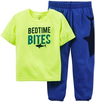 Carter's 2 Piece Pant PJ Set (Baby) - Blue Heart-24 Months